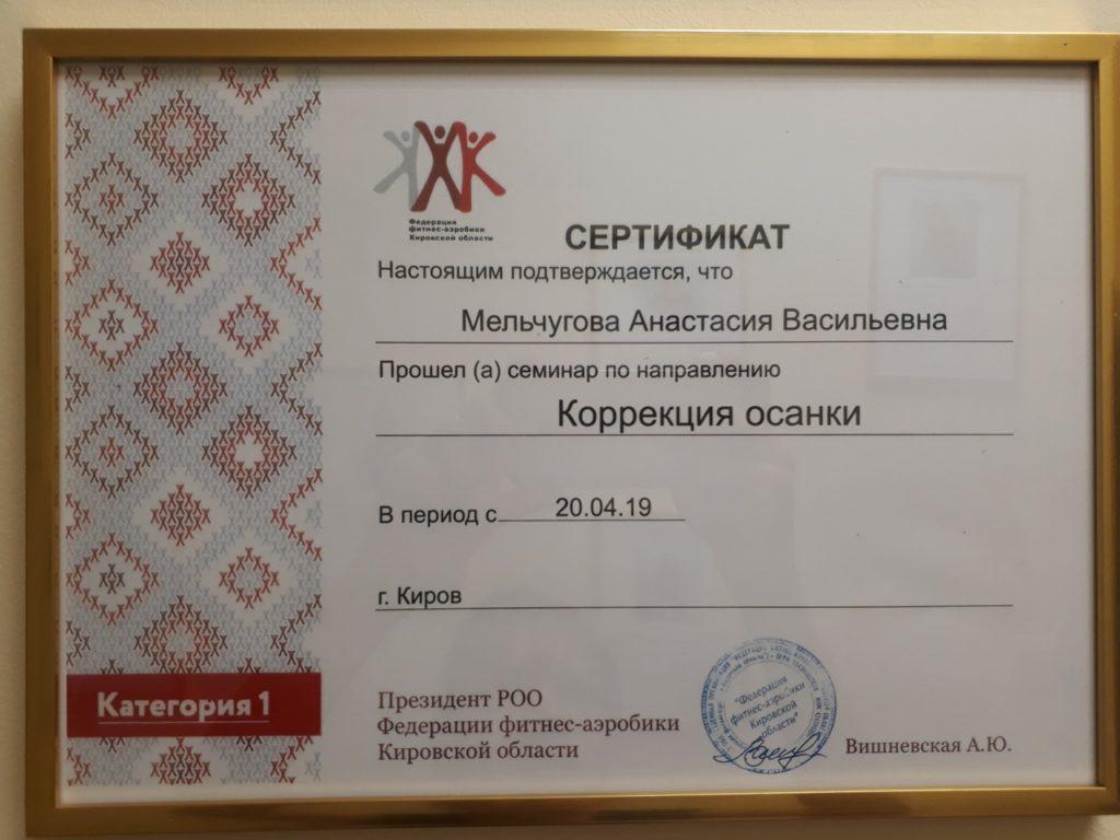 Сертификаты Анастасии Мельчуговой